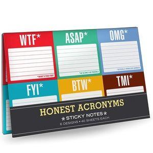 Honest Acronyms sticky notes